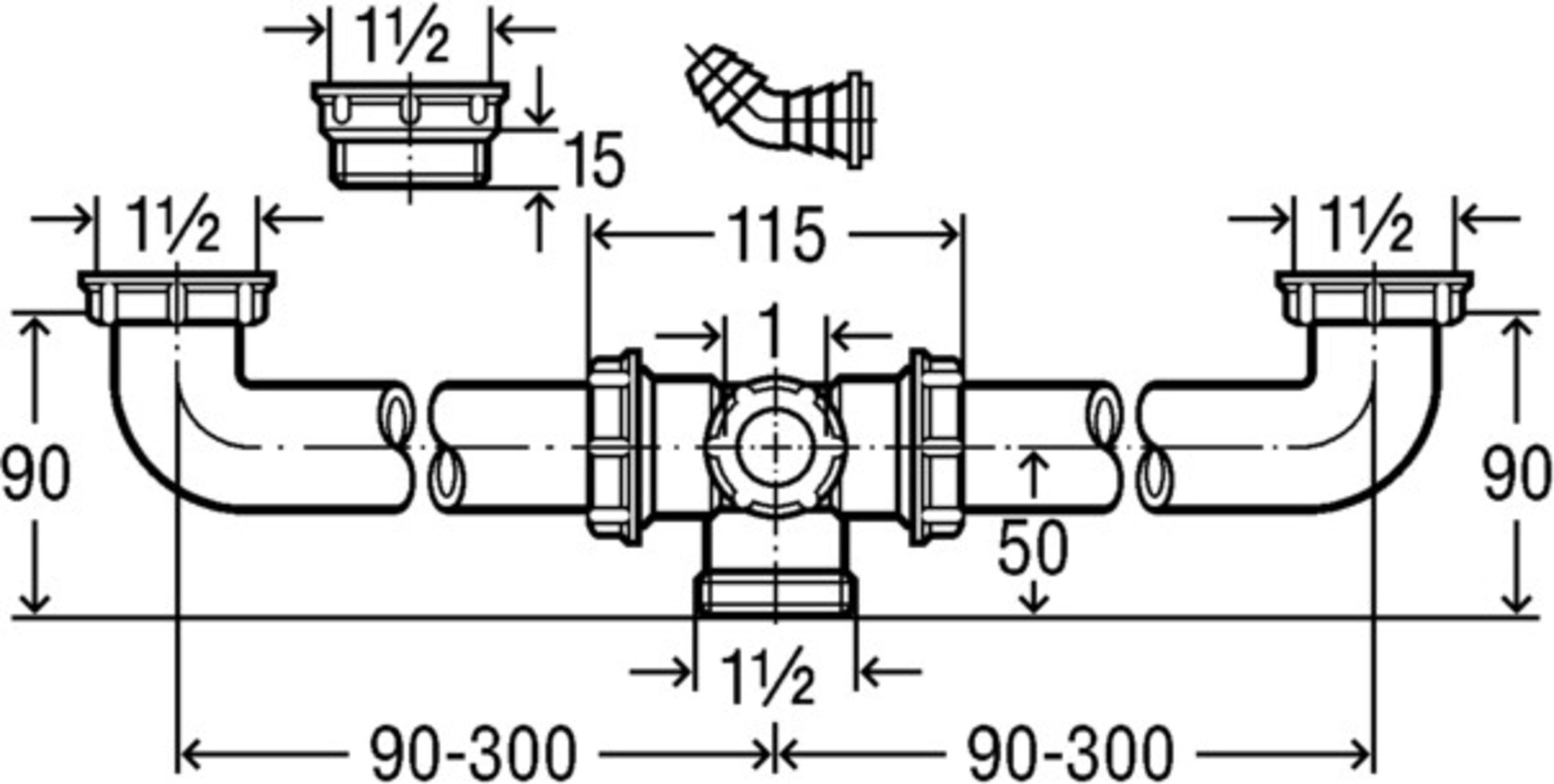 Ablaufverbindung für Doppelspüle Viega 1 1/2\