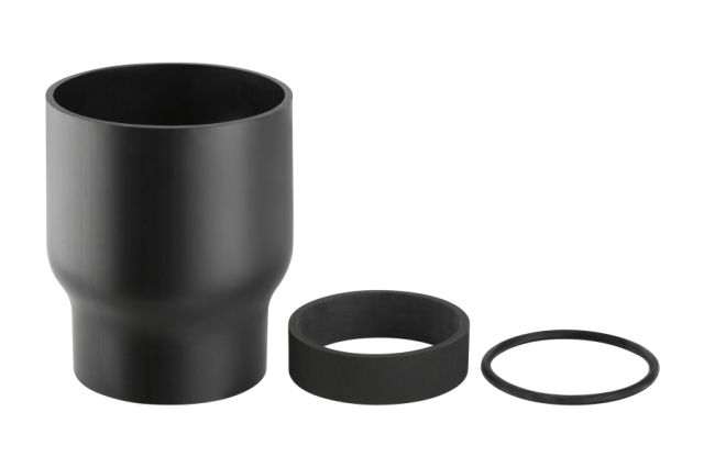 anschlussstutzen geberit pe hd 125 150 mm mit schrumpfmuffe und dichtungen. Black Bedroom Furniture Sets. Home Design Ideas