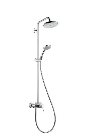 duschkombination croma 160 showerpipe m kopf handbrause u thermostat verchr hansgrohe. Black Bedroom Furniture Sets. Home Design Ideas