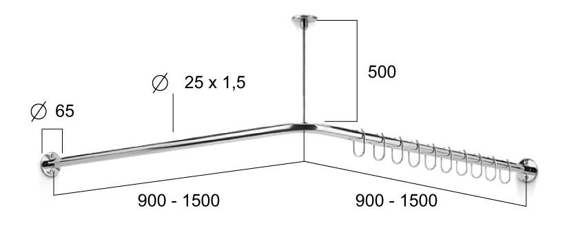 duschvorhang eckstange prima edelstahl 900 x 900 mm. Black Bedroom Furniture Sets. Home Design Ideas
