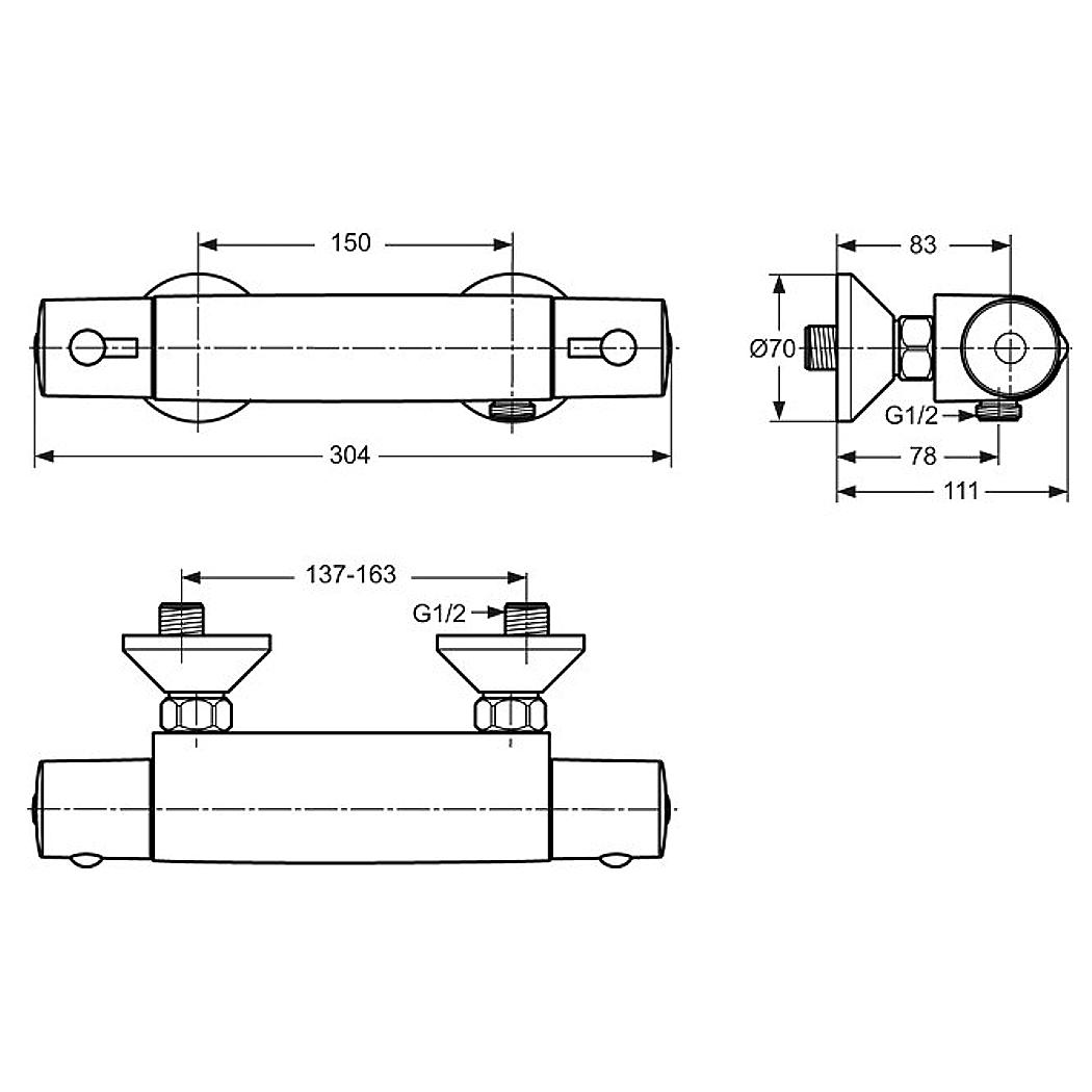 ideal standard ceratherm 50 ap brausethermostat 1 2. Black Bedroom Furniture Sets. Home Design Ideas
