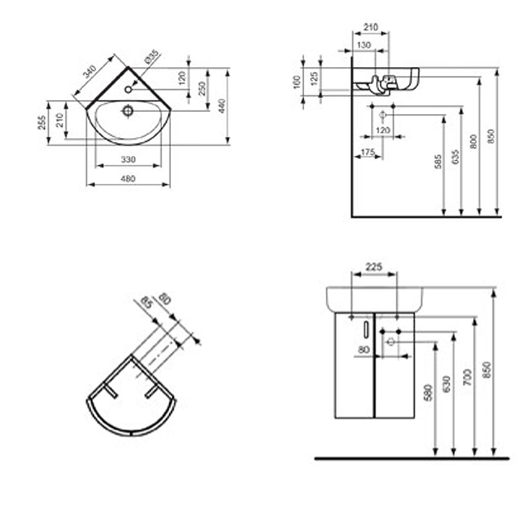 ideal standard connect eckwaschtisch arc wei. Black Bedroom Furniture Sets. Home Design Ideas