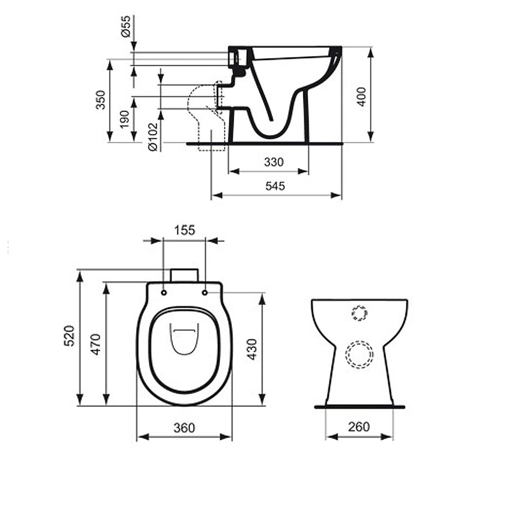 Höhe Wc standard connect stand tiefspül wc 4 5 l weiß ohne sitz