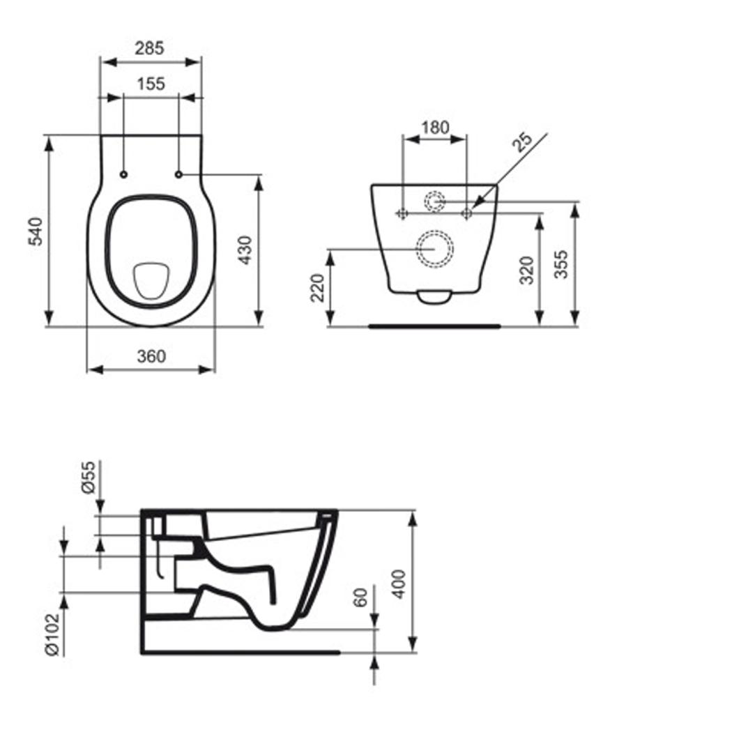 Ideal Standard Connect Wand Flachspul Wc 6 L Weiss Ohne Sitz