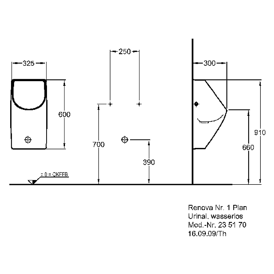 keramag urinal renova nr 1 plan wasserlos wei. Black Bedroom Furniture Sets. Home Design Ideas