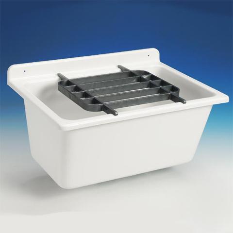 Waschtrog abu kunststoff 61 x 45 5 cm mit berlauf weiss for Kunststoff waschbecken